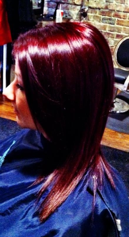 Check out this beautiful, vibrant violet-red from Alexis Garfield! She used 1oz 5VR +1/4 oz Violet Booster and 1oz 20 Vol. | Kenra Color. Kenra Professional.Hair Color