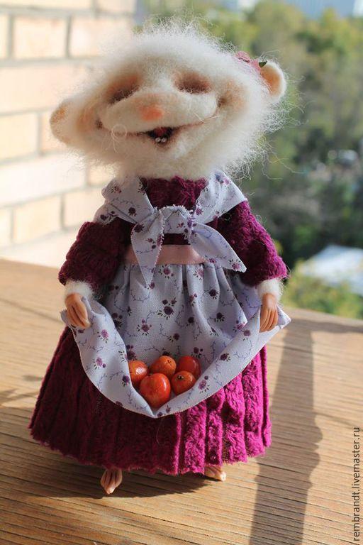 Купить Яблочки) - белый, белая войлочная мышка, шерсть