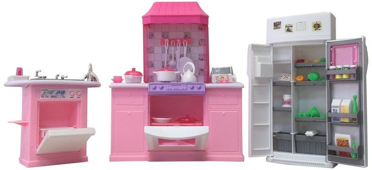 Barbie Size Dollhouse Kids Kitchen Cooking Playhouse Furniture Set Cook Chef Toy #BarbieSizeDollhouse