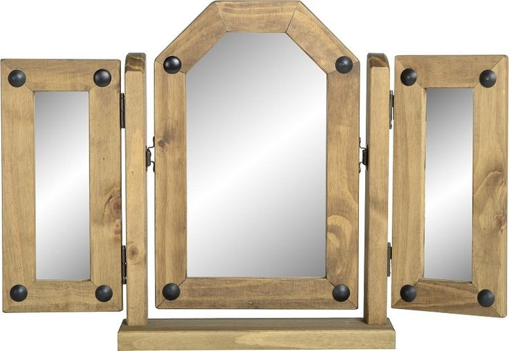 Corona Triple Swivel Dressing Table Mirror in Distressed Waxed Pine
