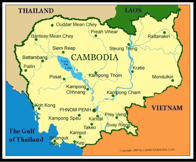 map of cambodia | Map of Cambodia – bordered by Thailand, Laos & Vietnam