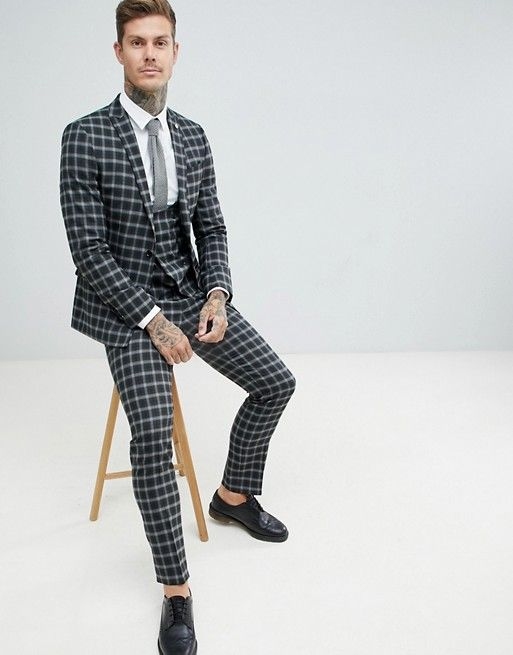 3de12690088c Twisted Tailor super skinny suit jacket in gray check in 2019 ...
