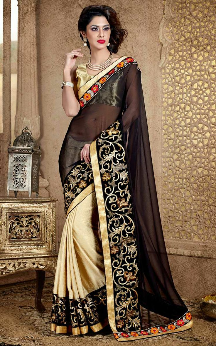 BLACK & CREAM FAUX GEORGETTE EMBROIDERED SAREE - DIFF 28341