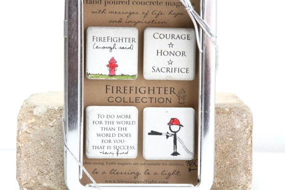 Firefighter Gift. Rustic Refrigerator Magnets by blessingandlight on Etsy