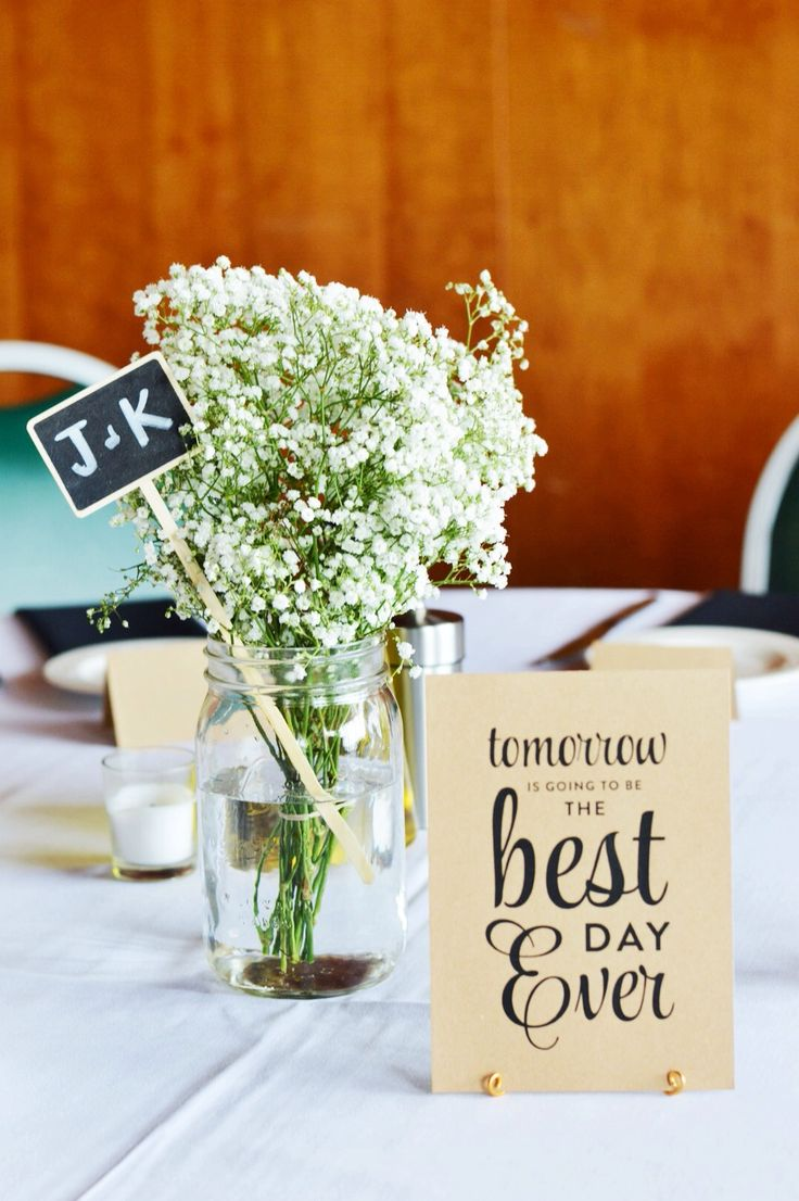 Rehearsal dinner / rustic wedding / baby's breath centerpieces
