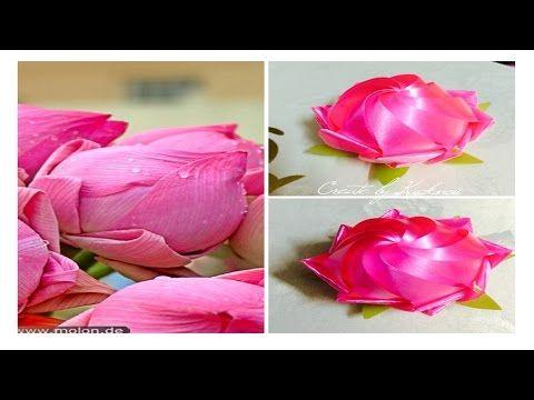 "Ribbon weaving : Sacred lotus เหรียญโปรยทาน ""ดอกบัวพับกลับซ้อน"" by kuck - YouTube"