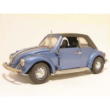 Volkswagen Kever Cabrio Softtop Polistil S15 1:24 blauw - vw beetle