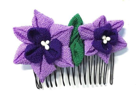 Tsumami Kanzashi flower hair comb  Kimono Japanese Chirimen