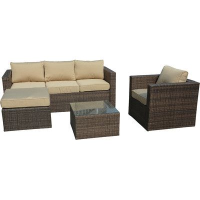 Manhattan Comfort Paisley 4 Piece Wicker Patio Conversation Set   Whether  Youu0027re Enjoying The Summer Sun Or The Late Fall Sunset, The Year Round ...