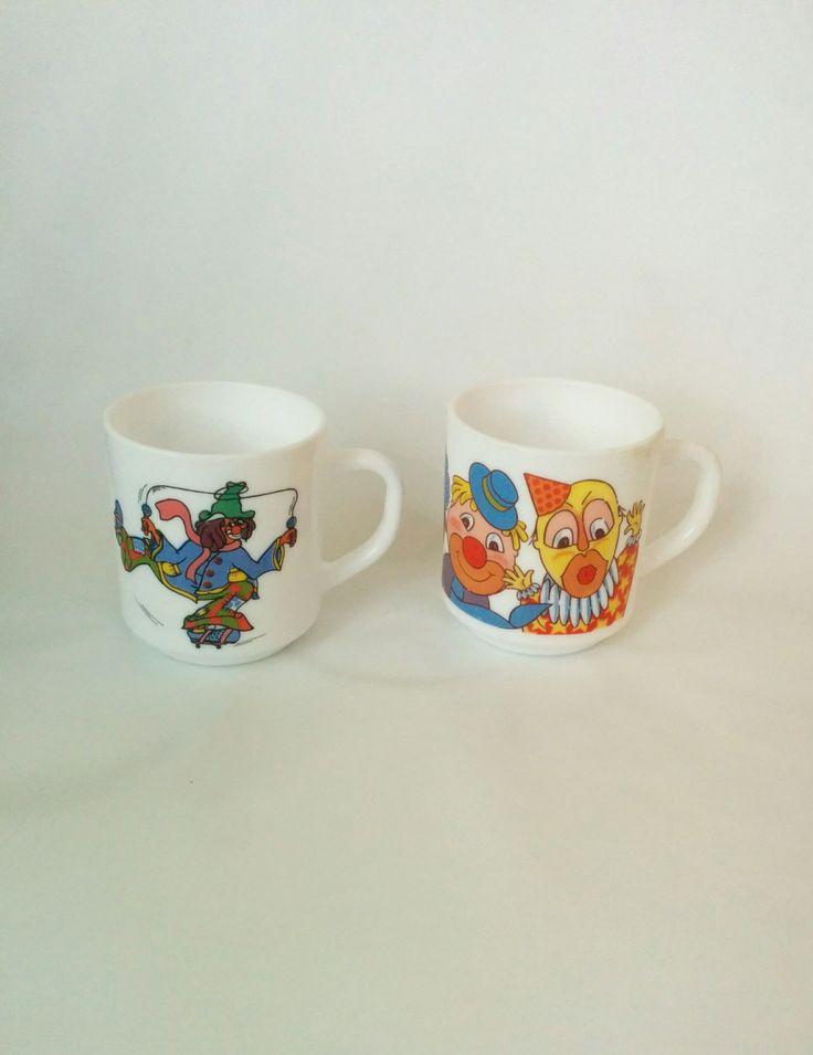 70s Vintage matching clown mugs kids novelty hobo clowns scary clowns by BambooBimbo on Etsy