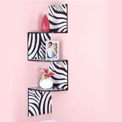Zebra print room shelf. Great for a teen bed room