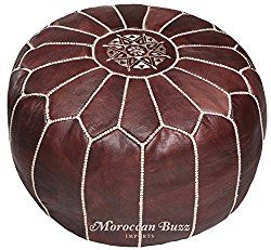 Moroccan Buzz 18-Pound Premium Stuffed Leather Pouf Ottoman, Brown