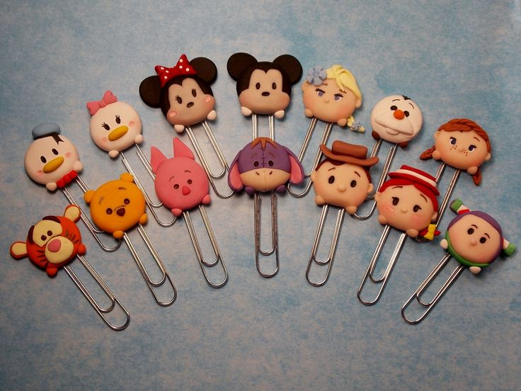 Disney Tsum Tsum polymer clay bookmarks. Made with jumbo size paper clips.