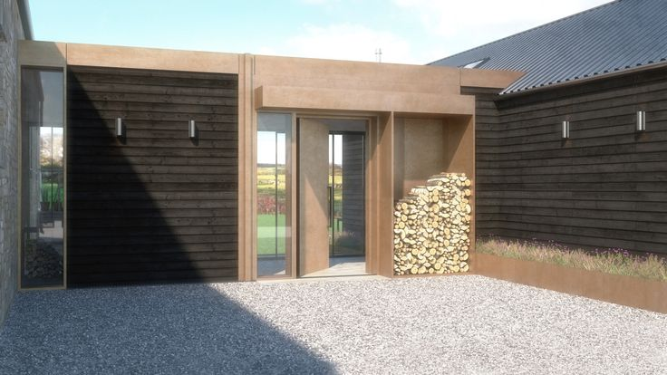 Our concept is complete for a garage conversion and extension in Slayley, Northumberland. We propose to connect the new extension and garage conversion back to the traditional barn conversion via a flat roof 'link'. The extension features bronze form work, tin roofing and modern glazing against Shou Sugi Ban (burnt larch timber) cladding. The glazing has been arranged to visually connect the spaces back toward the main dwelling.