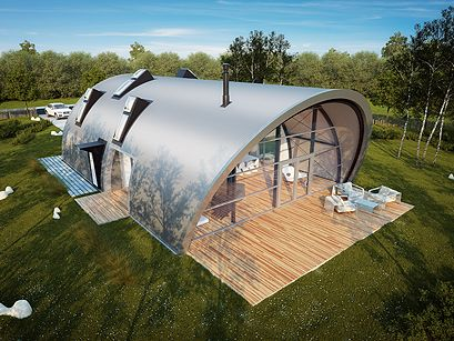 XL Avantgarde | HomeXL.  Love the diagonal end instead of normal Quonset flat end... This style perfect for small covered patio area