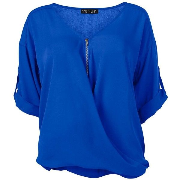 Venus Plus Size Women's Zip Up Blouse ($25) ❤ liked on Polyvore featuring tops, blouses, plus size blouses, plus size blue blouse, blue blouse, three quarter length sleeve tops and 3/4 sleeve blouse