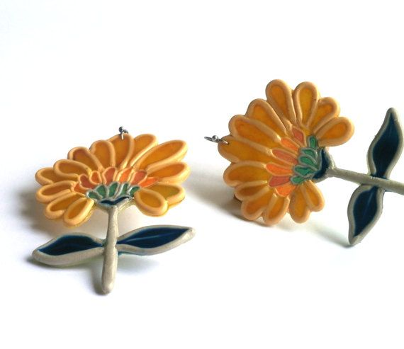 Yellow flower earrings polymer clay faux stained glass by Lijoux