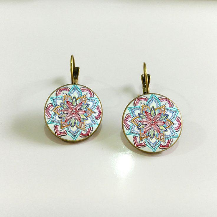 Bohemian Retro Earrings Copper Flower Vintage Earrings