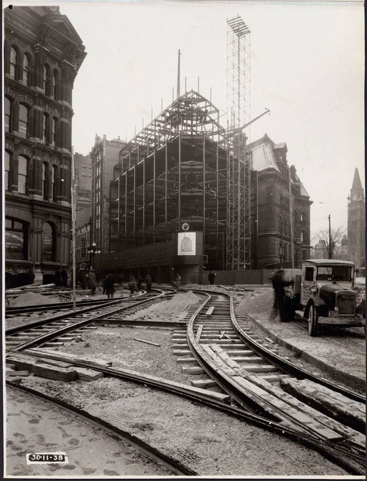 "Ottawa Post Office under construction at the corner of Elgin and Sparks in November of 1938. The streetcar tracks were re-routed on account of the construction of the War Memorial, just out of the picture to the right. The new post office was needed because the old one on the other side of the Plaza had just been been demolished as part of the ""beautification"" scheme...."
