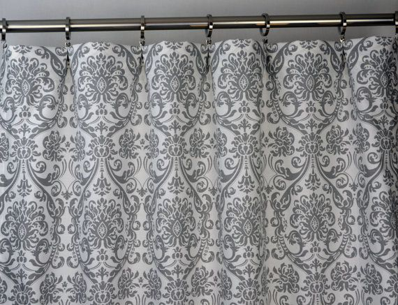 Storm Gray White Abigail Damask Curtains Rod Pocket by Zeldabelle