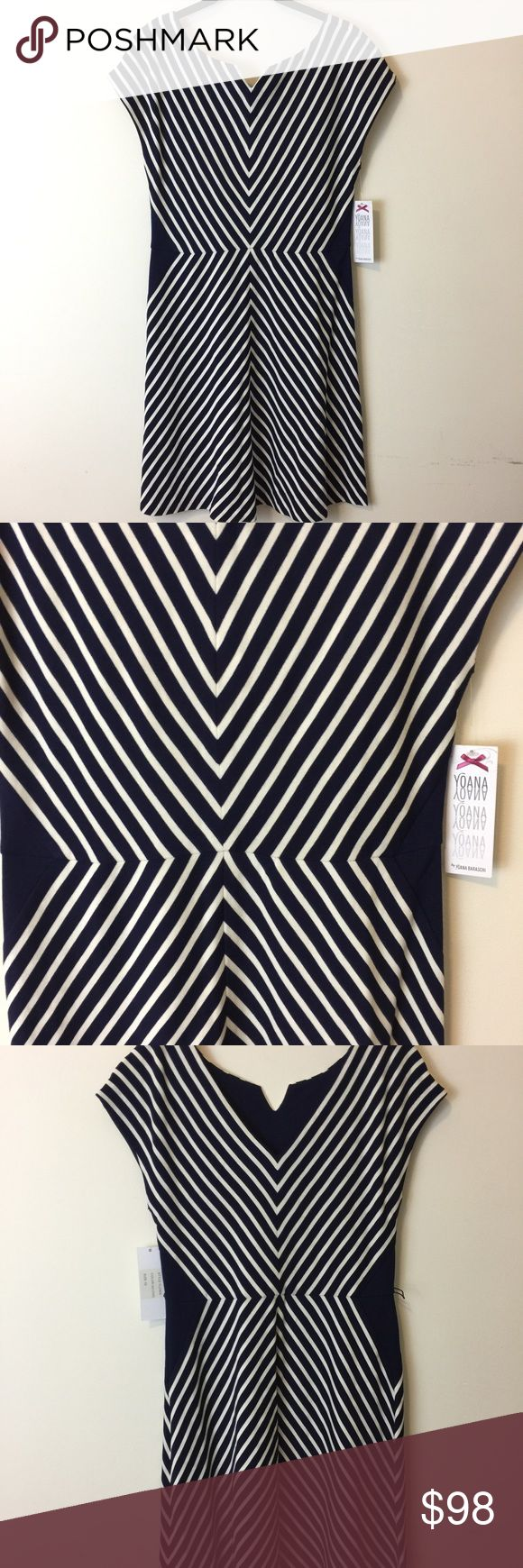 NWT Yoana Baraschi Abstract Navy Chevron Dress Yoana Baraschi Dress new with tags that is gorgeous and flattering. Navy and white stripes! Size 10! Anthropologie Dresses