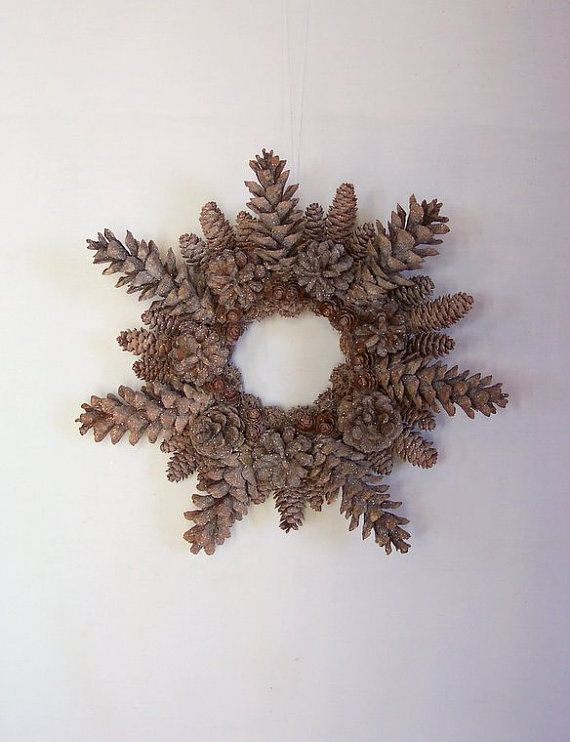 Pinecone snowflake Wreath - perfect with those pine cones dipped in ...