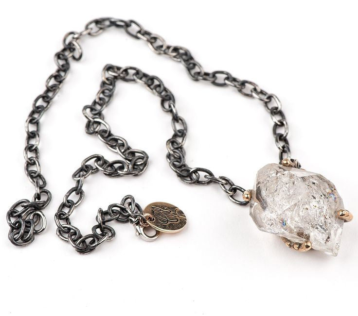 Herkimer Diamond Quartz statement necklace | fully adjustable | Raw crystal rock | high quality Gemstone for healing and oxidized sterling silver chain