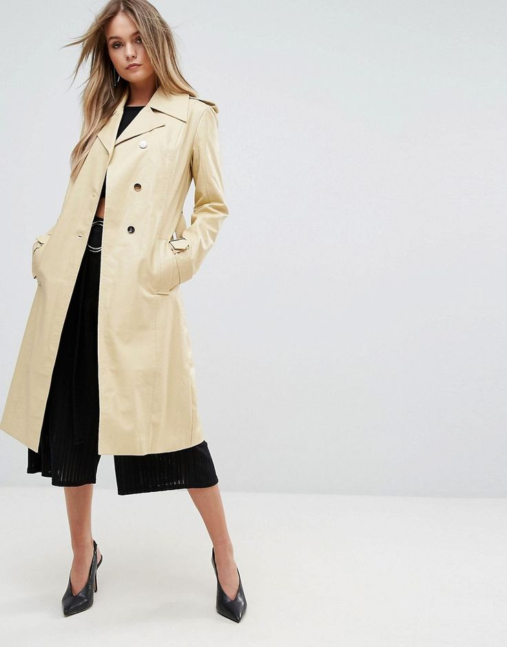 PrettyLittleThing Leather Look Trench - Beige
