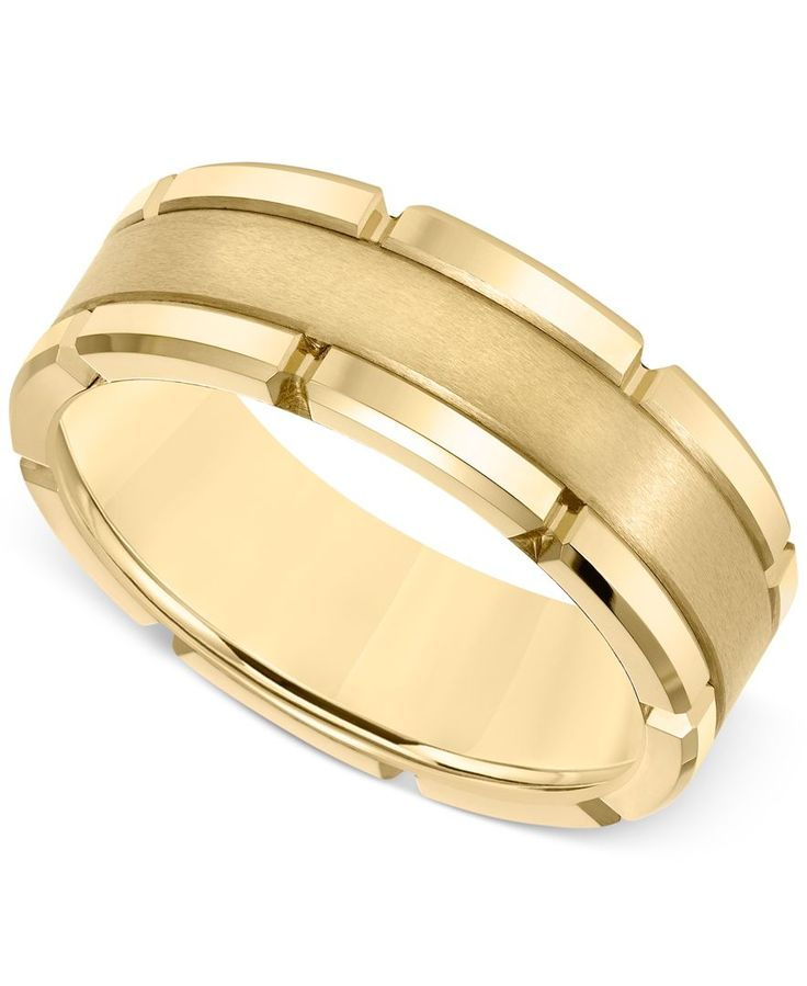 Men's Brushed Comfort-Fit 8mm Wedding Band in Yellow Tungsten Carbide