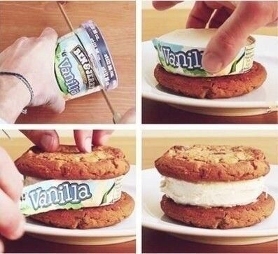 Easy Ice cream sandwich.  Who thinks of this stuff!!!???