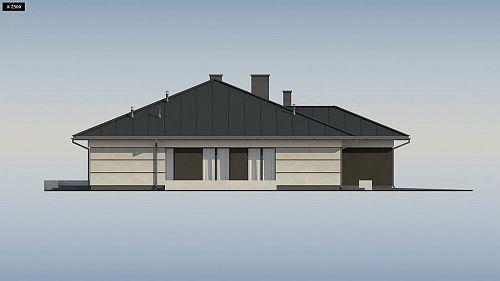 Проект ститьного одноэтажного дома с просторной террасой и с гаражом на два автомобиля S3-186-5 (Z378). Фасад 2. Shop-project