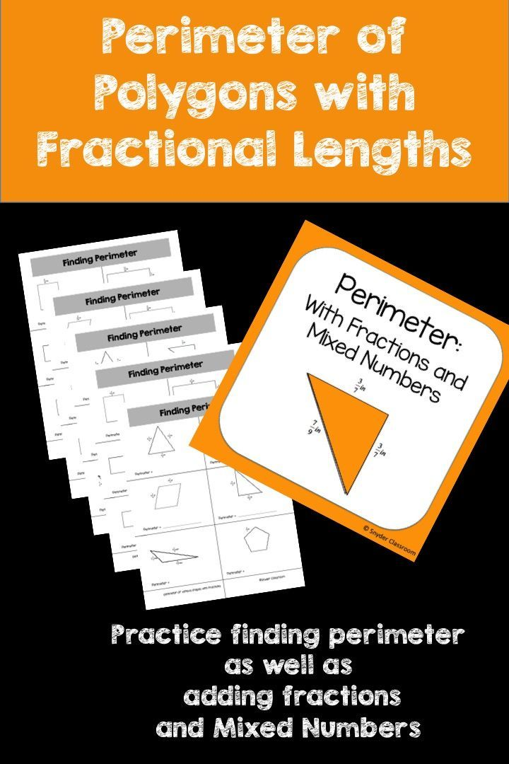 Looking for an activity that combines Perimeter and Fractions?   This activity is full of computation practice. The students combine the skills of finding the perimeter of parallelograms, rectangles, squares and triangles as well as the skill of adding fractions and mixed numbers. The Pack includes 5 different worksheets pages * 3 worksheets finding perimeter with fractions * 2 worksheets finding perimeter with mixed numbers