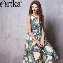 Artka женская весна новых печатных джинсовой лоскутное платье хлопка старинные v-образным вырезом без рукавов империи талии широкий подол платья LA10669C(China (Mainland))