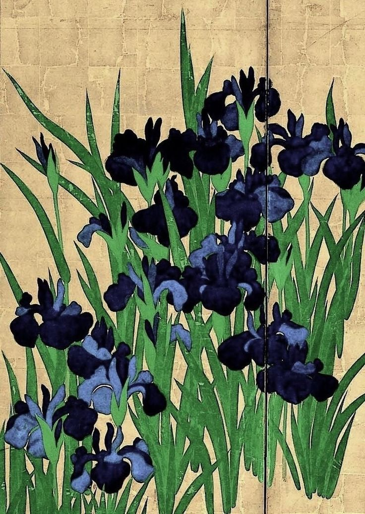 Detail. Right screen of the Japanese National Treasure 'Irises' (18th century) by Ogata Korin - Nezu Museum. Japan. Edo period. Rinpa icon.