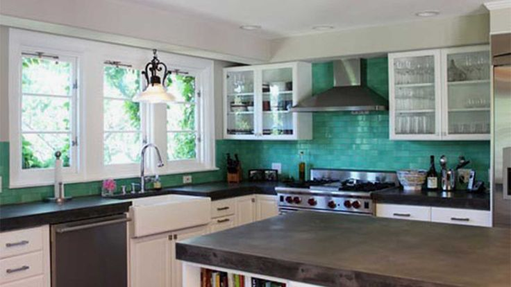 Kitchen Cabinetry System Hanging On Subway Tile Teal Ceramic Wall