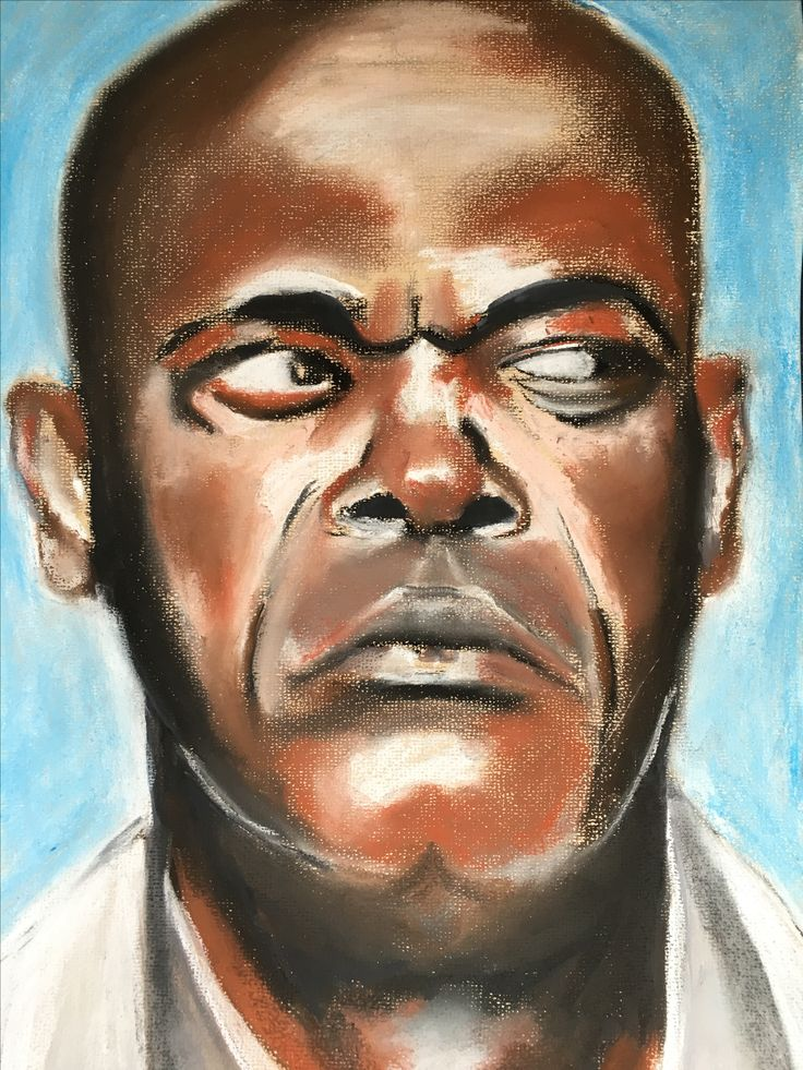 A pastel portrait I did of Samuel Jackson.