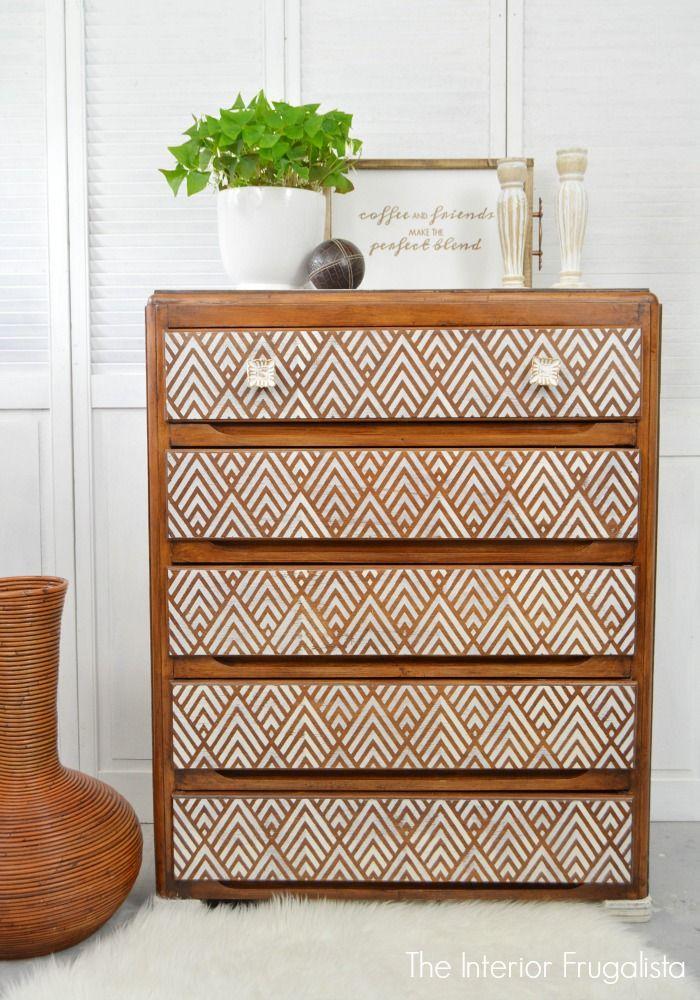 Whitewashed Geometric Dresser Makeover Vintage Bedroom Furniture Furniture Makeover Diy Furniture Makeover