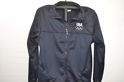 USA Lined Ladies Jacket Dark Blue Zipper Front L USA Olympic Committee 100% poly