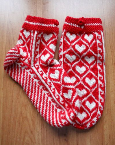 TRADITIONAL HAND KNITTED TURKISH WOOL SKI BED SOCK SLIPPER STOCKINGS XMAS GIF...