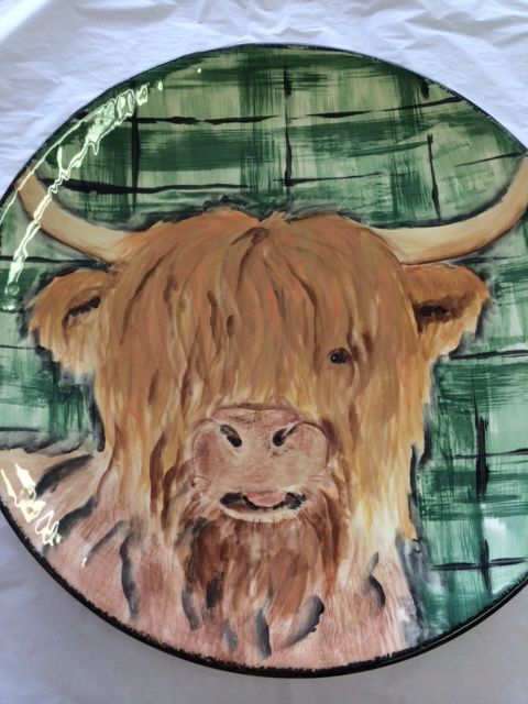 "Highland Cow Platter measuring 13"" for sale at £60.  Handpainted by Po of For Art Sake.  Commissions welcomed"