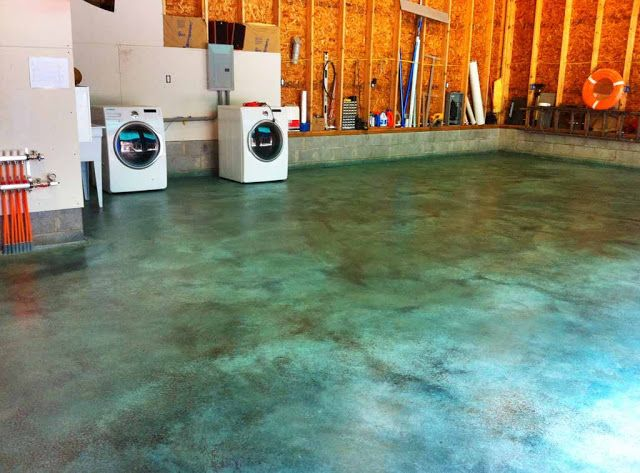 Blue stained concrete floor... I actually really love this