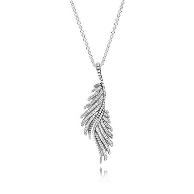 100% Silver 925 Jewelry Majestic Feather Pave CZ  Pendant Necklace Chain Length 70CM Necklace For Women DIY Fashion Jewelry
