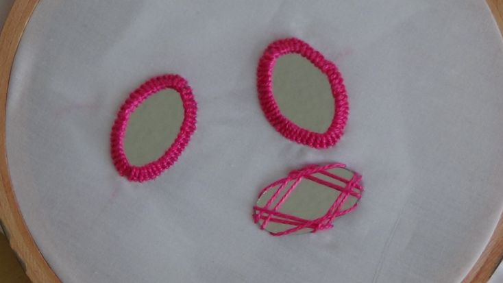 Hand Embroidery: Mirror Work (Oval Shaped Mirror) - YouTube