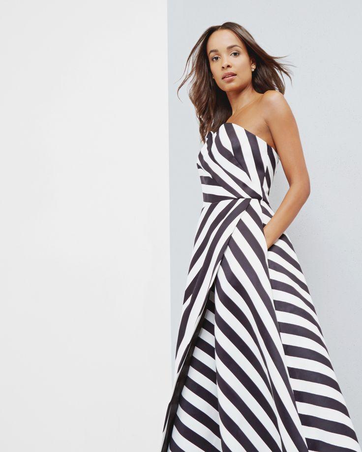 Strapless striped dress - Black | Dresses | Ted Baker UK