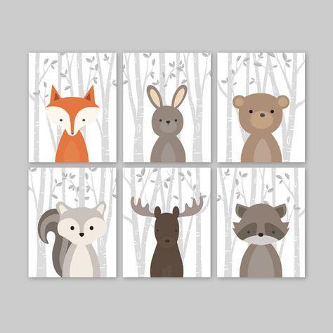 Bébé garçon pépinière Art, pépinières forestières animaux, Baby Room Decor, forêt Animal imprime, ensemble de 6 Fox lapin ours écureuil Moose raton laveur