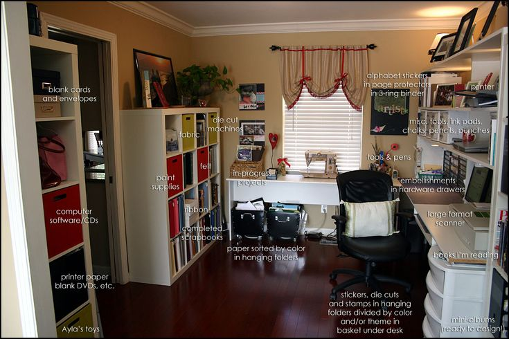 http://www.andreasteed.com/files/u2/office_labeled.jpg: Craft Space, Craft Rooms Home, Scrapbook Rooms, Craftroom, Craft Rooms Inspirations, Scrap Room