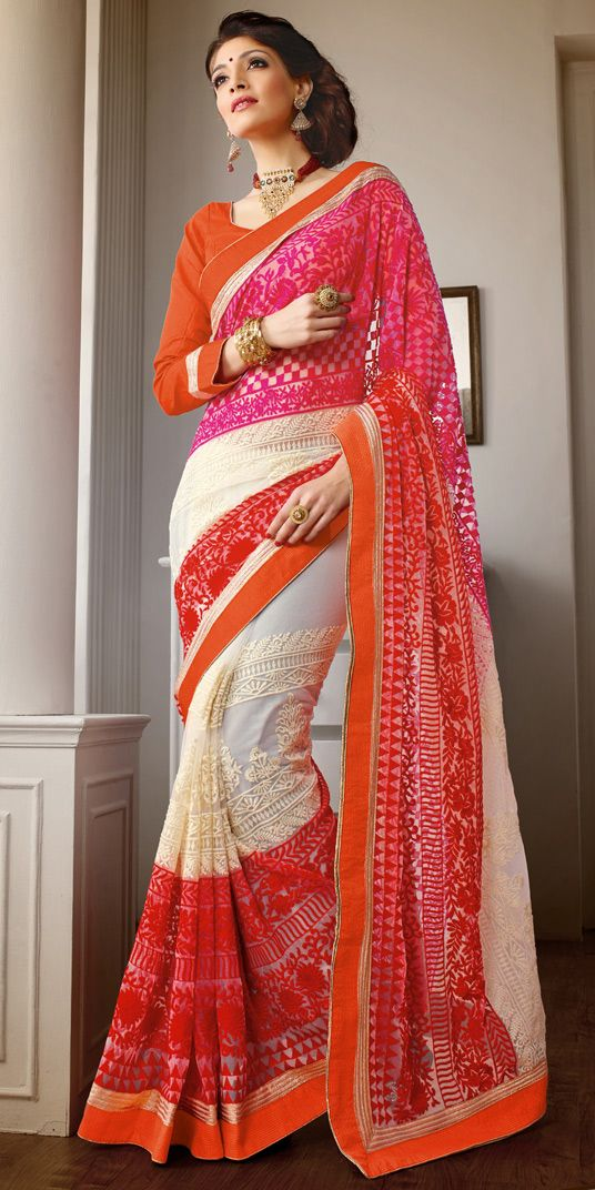 USD 113.82 Pink Faux Georgette Party Wear Saree 44103  #Georgette #Sarees