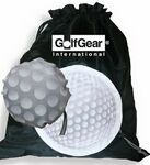 """Golf Morph Sac Bag. This cinch sack Morph; from a golf ball shaped pouch into the perfect golf shoe bag. 190T Poly. Price includes one color imprint.  It is a rugged golf shoe bag that can morph into a golf ball shaped pouch when not in use. Hang it on the side of your bag & then throw your sandy, muddy, grassy, wet golf shoes in it when you're done with your round. Perfect for every golfer. Complies with Prop 65. 15"""" L x 15"""" W http://www.imprintgolf.com/golf_shoe_bags.htm"""