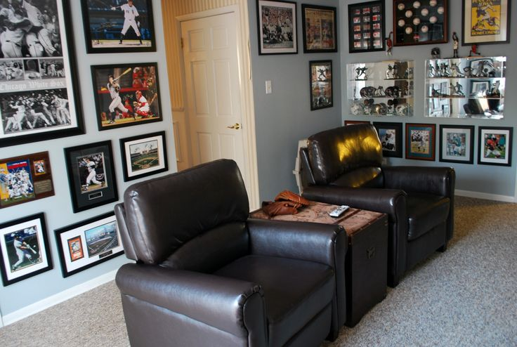 Framed Collage - Sports Memorabilia - we are going to HAVE to do this with all of our framed stuff!
