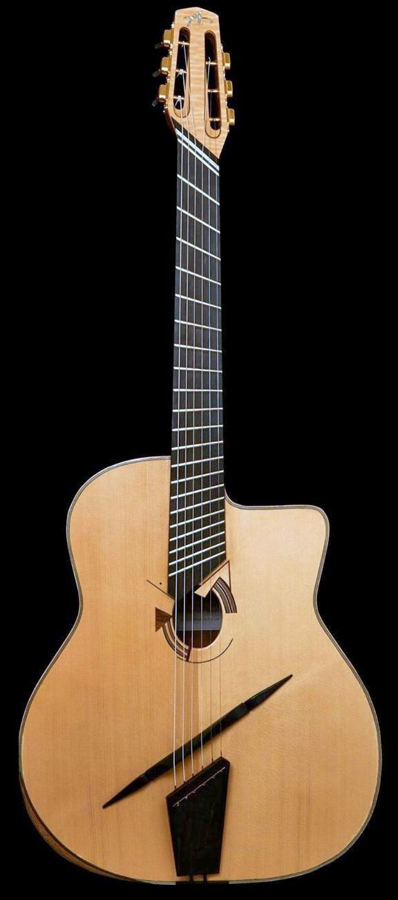 frettedchordophones: guitarbage: Alex Bishop Gypsy Jazz Multiscale not that big a fan of fan frets but this one is lovely = Lardys Chordophone of the day - a year ago --- https://www.pinterest.com/lardyfatboy/